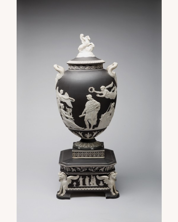 Wedgwood Black And White Jasper Pegasus Vase And Cover