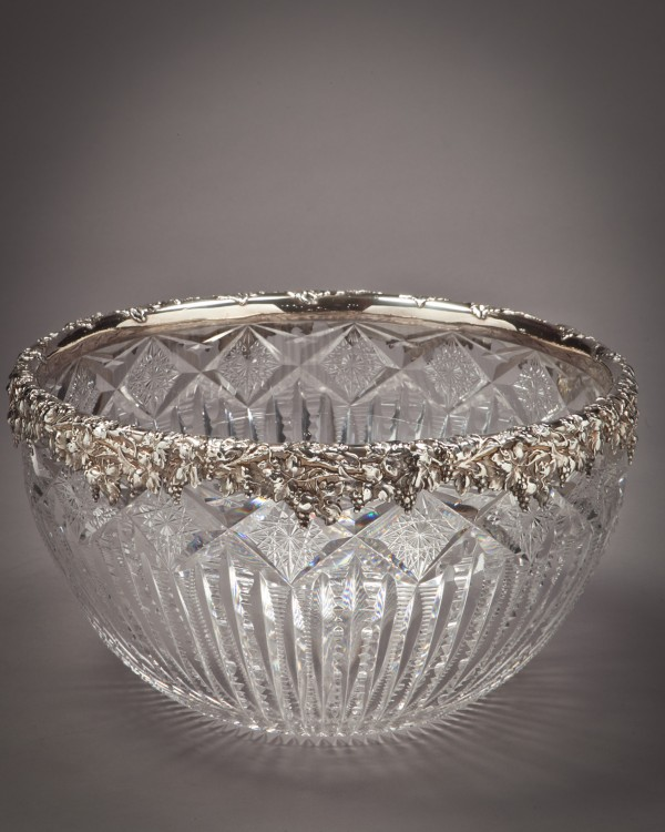 large sterling silver and brilliant glass bowl gorham