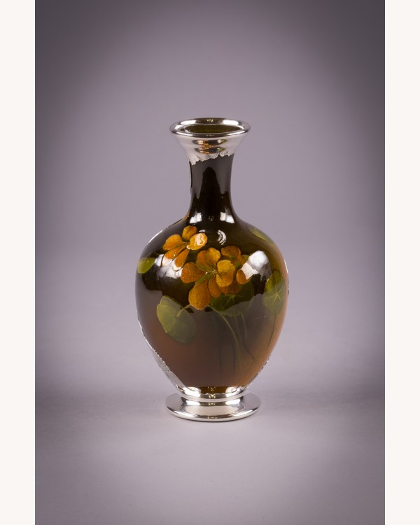 Rookwood Pottery And Silver Overlay Vase